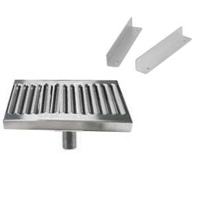 "6"" Surface Mount Drip Tray w/ Drain & Mounting Brackets"
